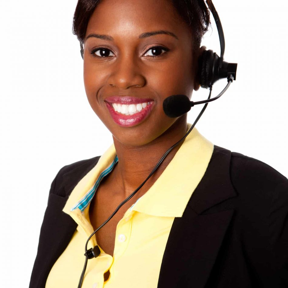 Beautiful happy smiling African business woman customer service representative operator, isolated (1)